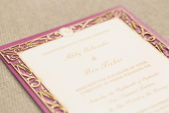 engraved invitation monogram elegant laser designs